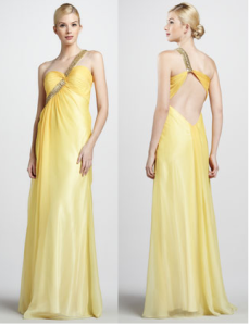 yellow over shoulder gown