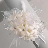 white stephanotis with rhinestones and feathers